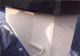 煙突の壁上塗り2回目